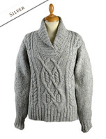 Wool Cashmere Aran Shawl Neck Sweater - Silver