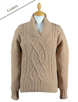 Wool Cashmere Aran Shawl Neck Sweater - Camel