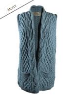 Cable Aran Waistcoat - Misty Blue