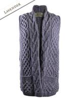 Cable Aran Waistcoat - Lavender
