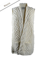 Cable Aran Waistcoat - Natural White