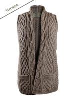 Cable Aran Waistcoat - Wicker