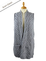 Cable Aran Waistcoat - Soft Grey