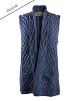 Cable Aran Waistcoat - Denim
