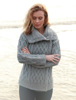 Single Button Aran Trellis Cardigan - Soft Grey/Misty Blue