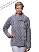 Single Button Aran Trellis Cardigan - Soft Grey/Grey