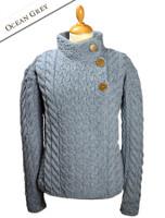 Super Soft Trellis and Cable Cardigan - Ocean Grey