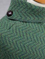 Herringbone Merino Poncho with Button Detail - Detail