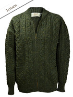 Aran Zip Cable Knit Cardigan with Collar - Loden