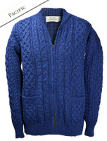 Aran Zip Cable Knit Cardigan with Collar - Pacific