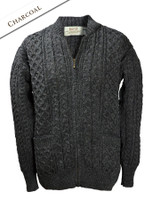 Aran Zip Cable Knit Cardigan with Collar - Charcoal