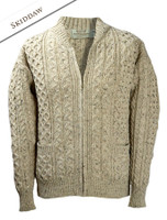 Aran Zip Cable Knit Cardigan with Collar - Skiddaw