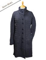 Trellis Aran Coat - Navy Marl