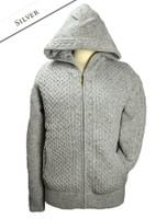 Wool Cashmere Honeycomb Aran Hoodie - Silver