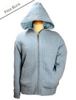 Wool Cashmere Honeycomb Aran Hoodie - Pale Blue