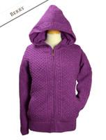 Wool Cashmere Honeycomb Aran Hoodie - Berry
