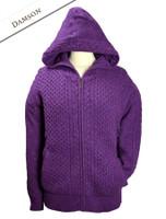 Wool Cashmere Honeycomb Aran Hoodie - Damson
