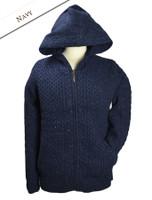 Wool Cashmere Honeycomb Aran Hoodie - Navy