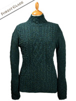 Wool Cashmere Patchwork Aran Sweater - Forest Glade