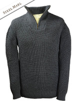 Ribbed Merino Troyer - Steel