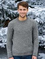 Merino Textured Crew Neck Sweater - Steel