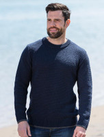 Merino Textured Crew Neck Sweater - Navy