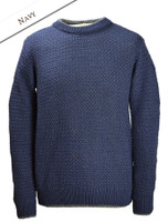 Merino Textured Crew Neck Sweater - Navy