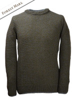 Merino Textured Crew Neck Sweater - Forest