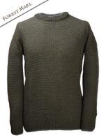 Merino Textured Crew Neck Sweater - Forest