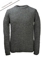 Merino Textured Crew Neck Sweater - Charcoal