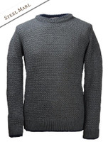 Merino Textured Crew Neck Sweater - Steel