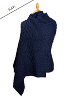 Cable Aran Wrap - Navy
