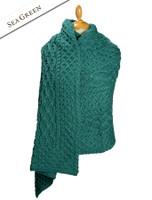Cable Aran Wrap - Sea Green