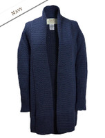 Textured Merino Coatigan - Navy