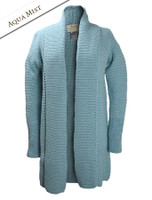 Textured Merino Coatigan - Aqua Mist