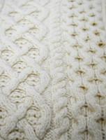 Wool Cashmere Aran Throw - White