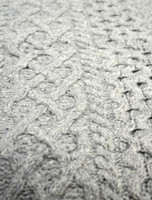 Wool Cashmere  Aran Throw - Light Grey