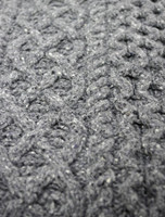 Wool Cashmere Aran Throw - Mid Grey