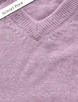 Womens Lambswool V-Neck Sweater - Sunset Pink