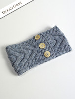 Super Soft Cable Stitch Headband - Ocean Grey
