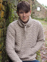 Men's Cowl Neck Aran Sweater - Oatmeal