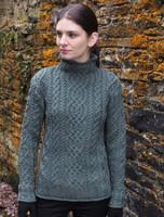 Super Soft Aran Roll Neck Sweater - Tundra