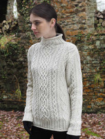 Super Soft Aran Roll Neck Sweater - White