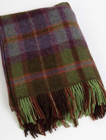 Plaid Wool Throw - Green Rust Grey