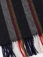 Narrow Lambswool Striped Scarf - Black Red Gold Herringbone