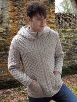 Hooded Merino Aran Jacket - Oatmeal