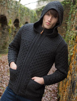 Hooded Merino Aran Jacket - Charcoal