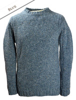 Crew Neck Sweater with Ribbed Sides - Blue