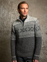 Mens Zip Neck with Jacquard Pattern - Granite