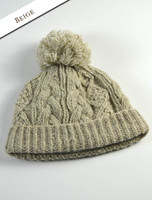Aran Fleece Lined Rib Cap with Bobble - Beige